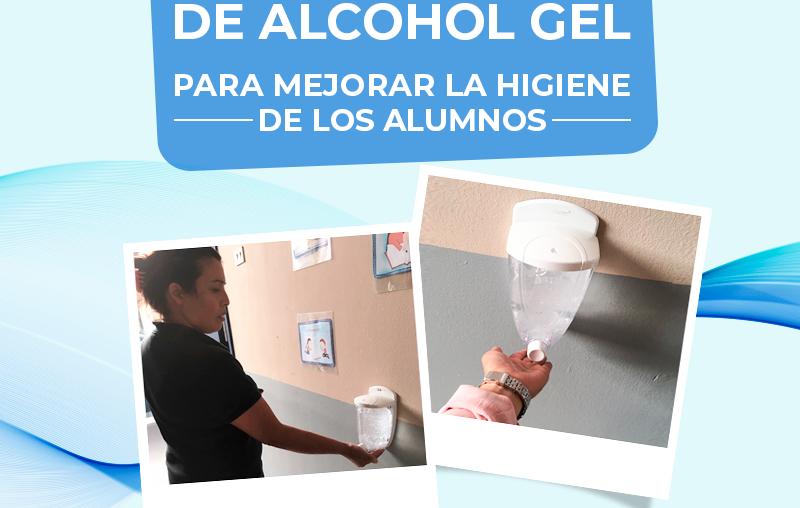 ...Dispensadores de alcohol gel en puntos estratégicos de nuestro colegio